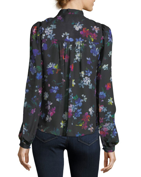 Tie-Neck Painted Floral Georgette Silk Blouse