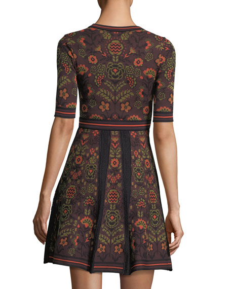 Elbow-Sleeve Floral Jacquard Knit Dress