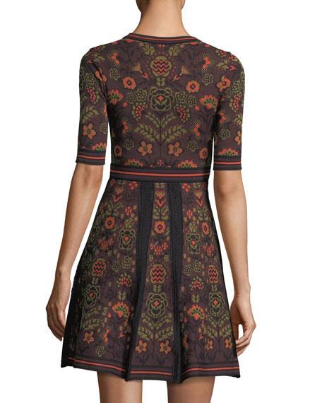 Elbow-Sleeve Floral Jacquard Knit Dress