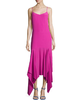 Wyatt Handkerchief Hem Slip Dress, Pink