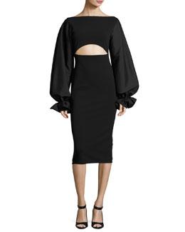 Darcy Cutout Blouson-Sleeve Sheath Dress, Black