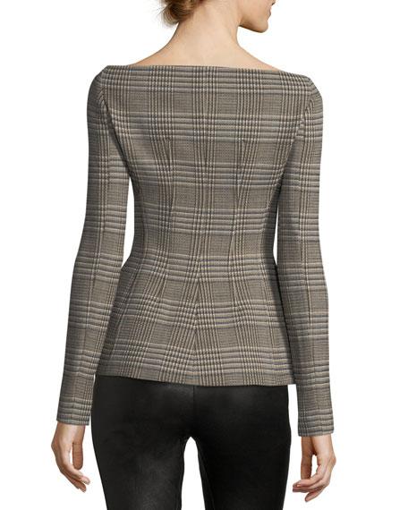 Off-the-Shoulder Wool Plaid Jacket