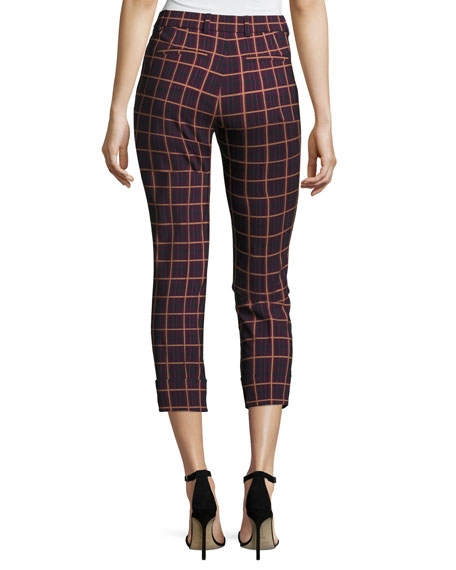 Crop Cuff York Plaid Pants, Purple