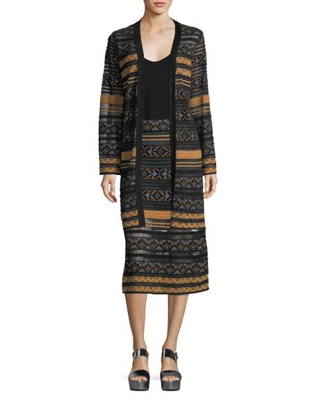 Long Semisheer Chenille Ribbon Knit Skirt