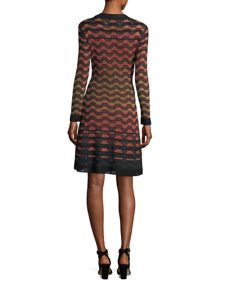 Long-Sleeve Greek Key Open-Knit Dress