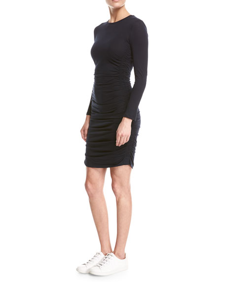 Ruched Jersey Long-Sleeve Mini Dress, Navy