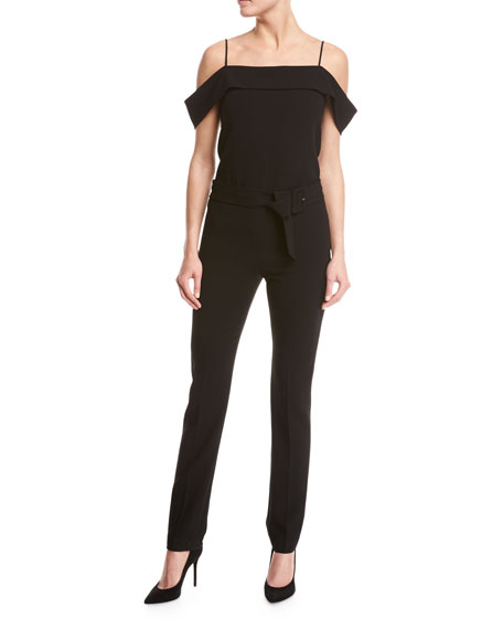 Off-the-Shoulder Crepe Jumpsuit, Black