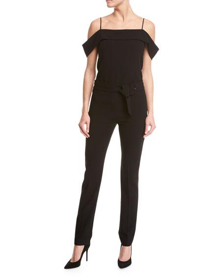 Off-the-Shoulder Crepe Jumpsuit, Black