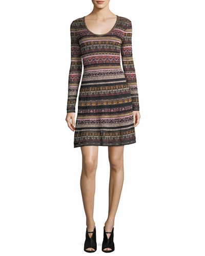 Long-Sleeve Floral Lurex® Jacquard Knit Dress