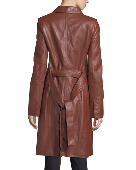 Wilmore Leather Tie-Waist Mod Coat
