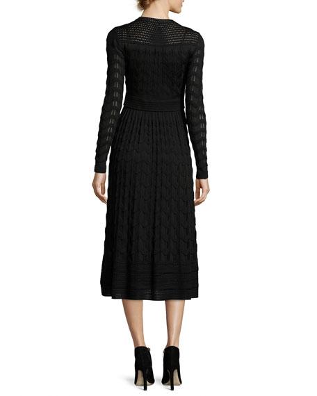 Long-Sleeve Jewel-Neck Midi Dress