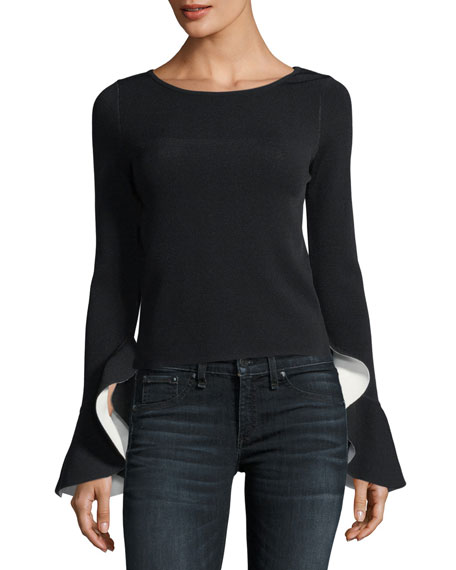 Contrast Draped Ruffle-Sleeve Pullover