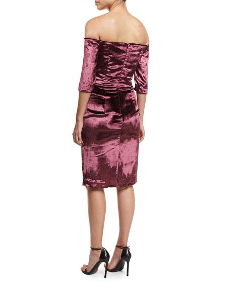 Slim Off-the-Shoulder Panne Velvet Cocktail Dress