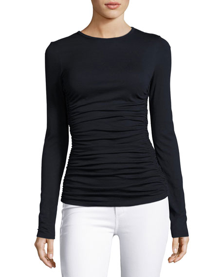 Ruched Plume Jersey Long-Sleeve Top, Navy