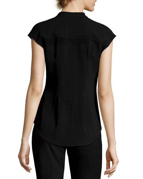Narthus Pleated Admiral Crepe Top, Black
