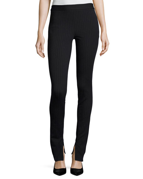 High-Waist Pinstripe Knit Leggings, Navy