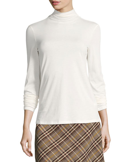 Basic Long-Sleeve Turtleneck Top, White