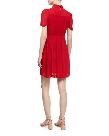 Short-Sleeve Smocked Mini Dress, Red