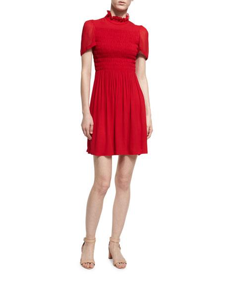 Short-Sleeve Smocked Mini Dress, Red