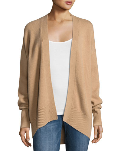 Oversized Open-Front Cashmere Cardigan, Camel