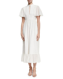Frill Hem Eyelet Cape Dress, White