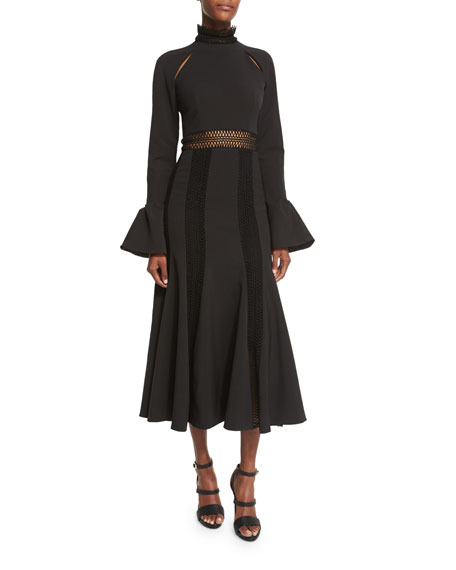 Trumpet-Sleeve Flare Dress, Black