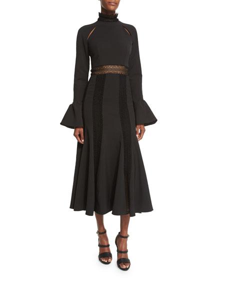 Jonathan Simkhai Trumpet-Sleeve Flare Dress, Black