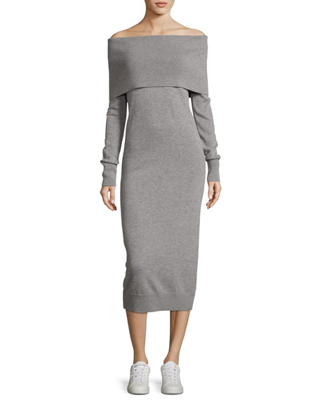 Off-the-Shoulder Fold-Over Elevated Wool Dress