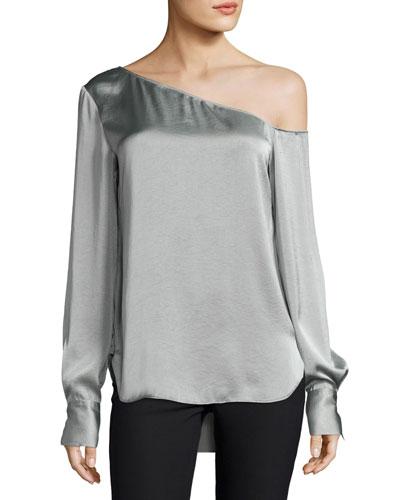 Ulrika One-Shoulder Satin Blouse, Gray