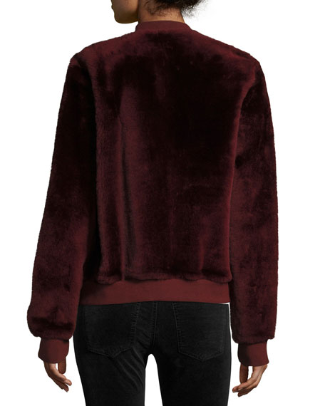 Silky Merino Shearling Bomber Jacket, Brown