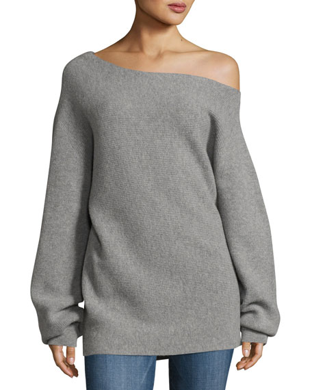 One-Shoulder Ribbed Royal Wool Sweater, Gray
