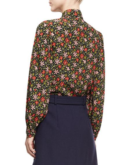 Pointed Collar Floral Silk Shirt, Black