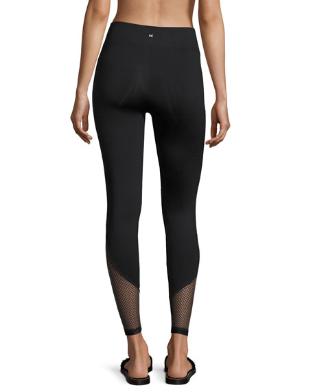 Become Mesh-Hem Performance Leggings, Black