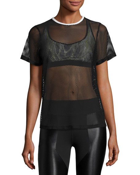 Size Up Open-Mesh Tee, Black