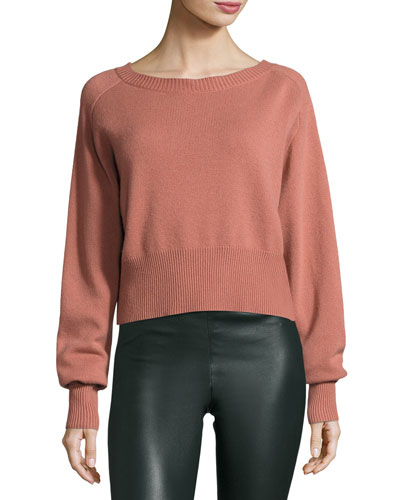 Boat-Neck Long-Sleeve Relaxed Cashmere Sweater