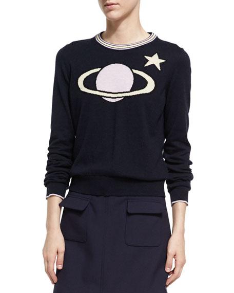 Planet Intarsia Crew Neck Sweater, Dark Blue