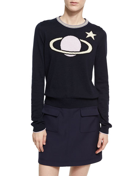 Alexa Chung Planet Intarsia Crew Neck Sweater, Dark