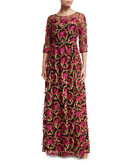 Marchesa Notte 3/4-Sleeve Floral-Embroidered Gown