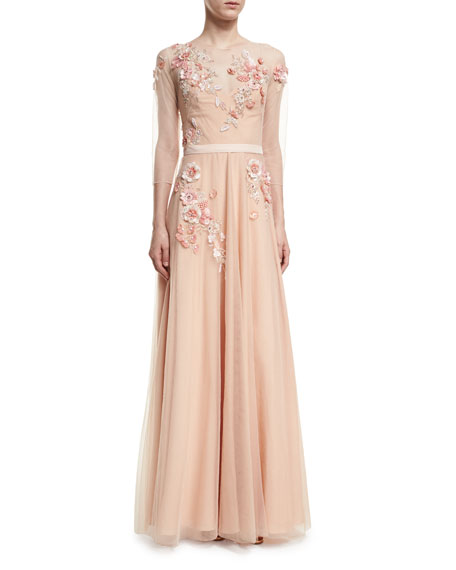 Marchesa Notte 3/4-Sleeve Beaded Tulle Gown