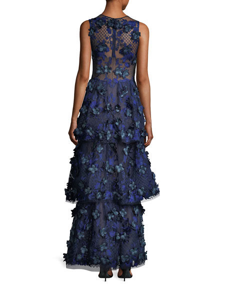 3-D Embroidered Sleeveless Tiered Gown