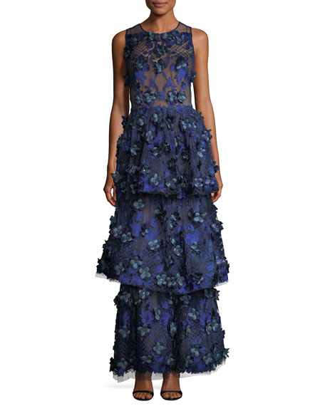 Marchesa Notte 3-D Embroidered Sleeveless Tiered Gown