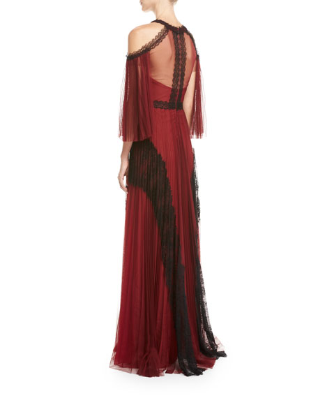 Cold-Shoulder Pleated Tulle Gown