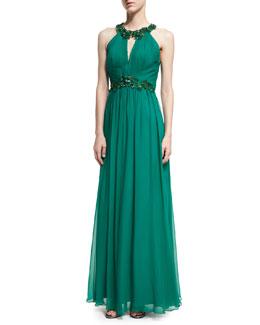 Halter-Neck Sleeveless Beaded Chiffon Gown