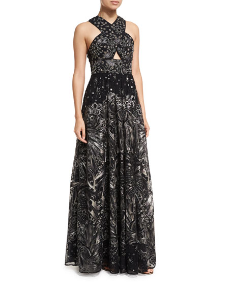Marchesa Notte Crisscross High-neck Sleeveless Embroidered Tulle