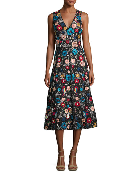 Alice + Olivia Nicolette V-Neck Embroidered Flared Midi