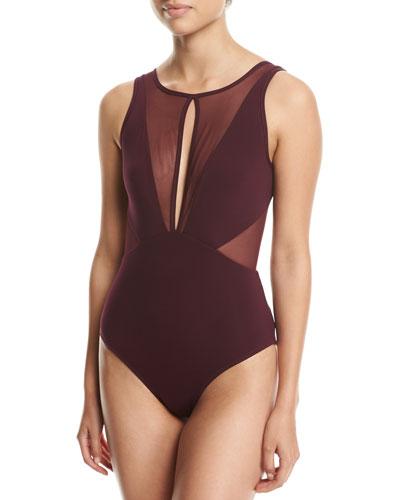 Aspire High-Neck One-Piece Swimsuit  Purple
