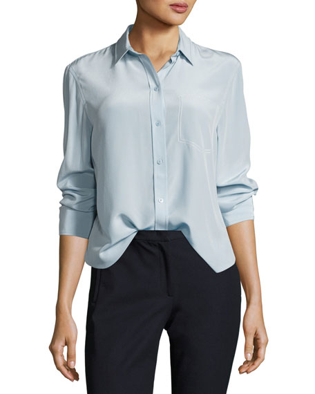 Joseph Garcon Long-Sleeve Button-Front Silk Shirt