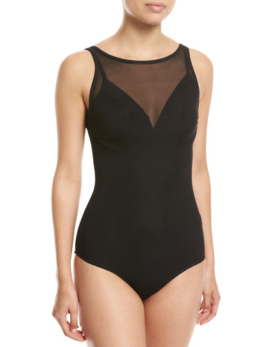 Aspire High-Neck Mesh One-Piece Swimsuit  Black (Available in DD-E Cups)