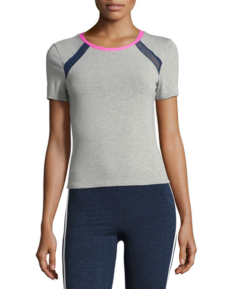 Heroine Sport Racer Crewneck Athletic Tee, Gray/Pink