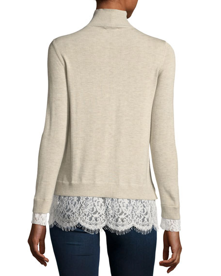 Fredrika Wool-Blend Turtleneck Sweater w/ Lace Hem